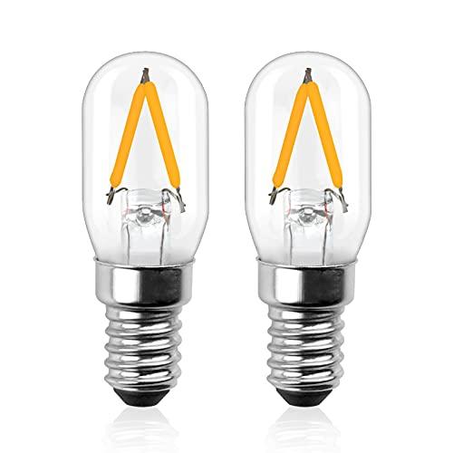 Luxvista E14 LED Glühlampe 2W 12V LED T22 Filament Lampe Birne Warmweiß 3000K Edison Ofen Glühbirne Ersatz 20W Halogenlampe 200LM für Kühlschrank Dunstabzugshaube RV Zimmer (2 Stück, Nicht Dimmbar)