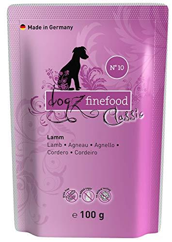 dogz finefood Hundefutter nass - N° 10 Lamm - Feinkost Nassfutter für Hunde & Welpen - getreidefrei & zuckerfrei - hoher Fleischanteil, 12 x 100 g Beutel