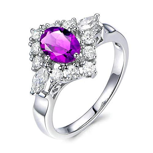 Bishilin Anillo de Compromiso de Plata de Ley 925 para el Ella Clásico Moderno Púrpura Oval Cristal Piedra Natal de Febrero Anillos de Compromiso Llamativos para Mujer Plata Talla: 23,5