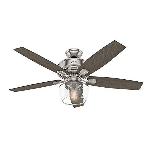 "Hunter Bennett Indoor Ceiling Fan with LED Light and Remote Control, 52"", Brushed Nickel"