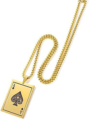 DUEJJH Co.,ltd Collar Poker Card Spades A Gold Colgante Collar Hombres Jugador Joyería Collares Juego de póquer Regalo