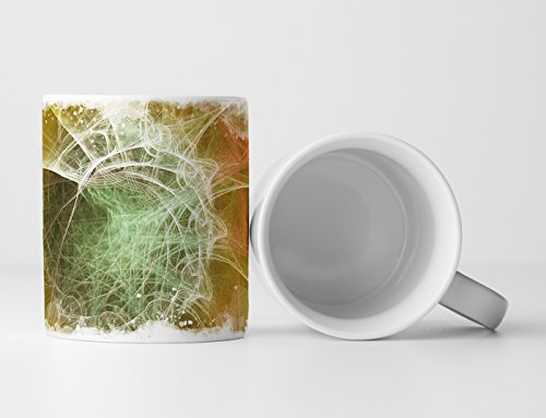 Eau Zone Design abstracte mok, cadeau, okergele primer + witte spiralen