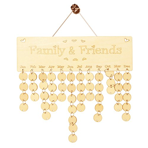 Wooden Family and Friends Birthday Calendar Anniversary Board DIY Sign Special Dates Planner Board Hanging Decor