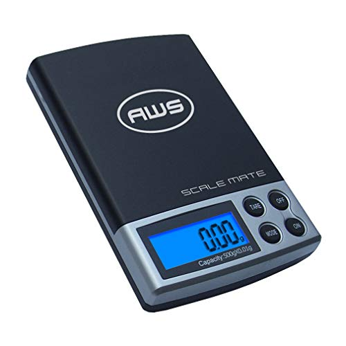 American Weigh Scales Scalemate Series Dual Range Digital Pocket Scale - Black - 0-200g x 0.01g/201-500g x 0.1g (SM-5DR-BLK)