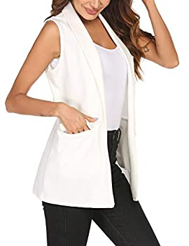 HOTLOOX Womens Long Vests Sleeveless Open Front Cardigan Layering Vest with Side Pockets  White Medium