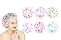 Trayosin シャワーキャップ 6個 防水 化粧帽 油煙を防ぐ 高品質 バスグッズ 浴用帽子