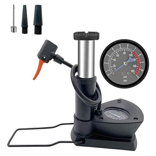 Phayee Mini Bomba de Bicicleta, Mini Bomba de Bicicleta activada con el pie, Bomba de Aire portátil con manómetro Extra Sensible