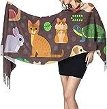 Vector Colorful Collection Pets incluyendo chal de perro y envolturas de cachemira, bufanda de viaje para mujer, bufanda ligera, 196 x 68 cm, grande y suave, extra cálida