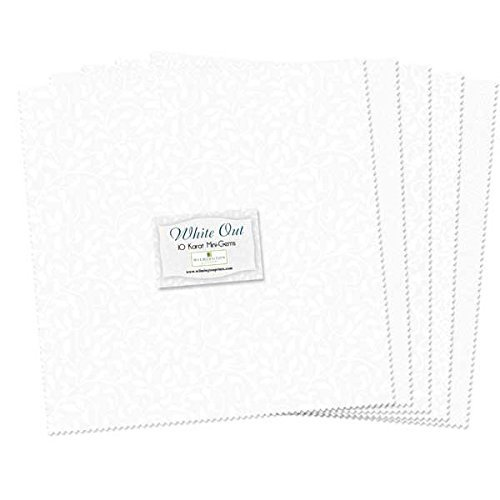 Wilmington Prints White Essential 5 Karat Gems 24 Fabric Squares 5 x 5, 5in x 5in, 5 Pack