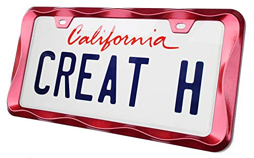 creathome 3D Curly Wave Pattern Shining Red License Plate Frame from Pure Zinc Alloy Metal