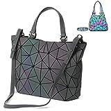 Sacs à Main Géométriques pour Femmes Sac à Bandoulière Cross Body Bag Luminous Grand Sac Fourre-Tout Sac Hobos Shard Treillis Ecologique en Cuir Rainbow Holographic Ladies Sac à Main (color1)