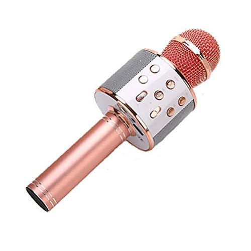 JINGBU KTV - Micrófono de mano inalámbrico para karaoke con reproductor USB, altavoz portátil, para Navidad, Birtay, hogar, fiesta, microfono de mano, color oro rosa