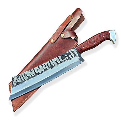 DELLINGER Handgemachtes KOCHMESSER D2 Snake Chopper - Küchenmesser, Chefmesser, Fleischmesser & Allzweckmesser & Griff aus Snake-Wood & Klinge 240 mm