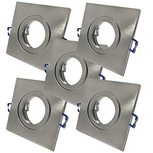 5 x Bad Einbauleuchten 12V inkl. MR16 Fassung Farbe Eisen geb. IP44 Einbaustrahler Neptun Eckig Deckenspots