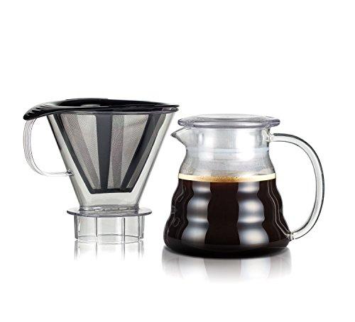 Bodum Melior Edelstahl Feinmaschige Dauerfilterkaffeebereiter mit Tritan-Filterhalter, Glas, Transparent, 15.1 cm