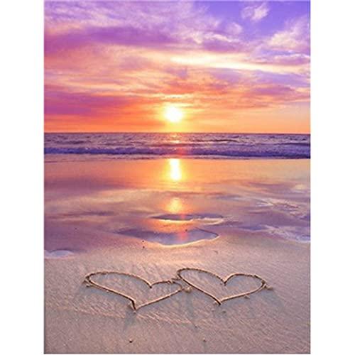 5D DIY diamante pintura sol playa río mar paisaje pintura Kit de punto de cruz mosaico arte decoración del hogar regalo A2 50x65cm
