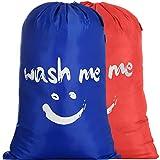 IHOMAGIC Bolsas para la Colada Plegables Set de 2 Cesto para Ropa Sucia Plegable 110L Saco de lavanderia Viajes para Baño con Organizador Lavandería para Cocina Dormitorio Hotel Naranja/Azul Oscuro