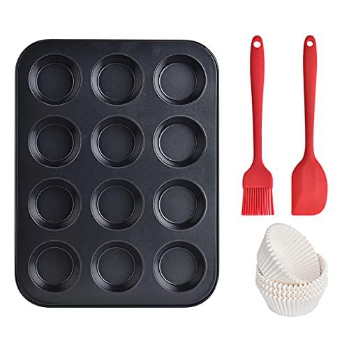 Muffinform Set, Queta 12 Cup Muffins Backform Antihaft-Cupcake-Backform, Kohlenstoffstahl Backform für Muffinschalen für die Herstellung von Muffins oder Minikuchen