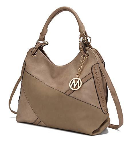 Mia K. Collection Crossbody Hobo Bags for Women - Tote Shoulder Bag - PU Leather Womens Purse - Top Handle Pocket Book Handbag Dark Apricot