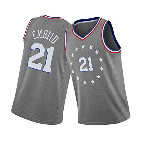 JRTB 76ers Equipo 21# Camiseta de Baloncesto Embiid Sportswear, Men's V-Cuello con Cuello en V Sin Mangas Versión de Ciudad Ocasional, no fácil de desvanecerse Grey-S