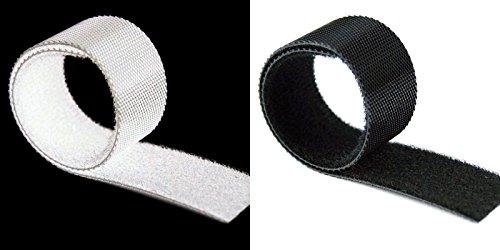 Unbekannt 1 m Schwarz oder Weis Klettband Back to Back beidseitig Kabelbinder Klettkabelbinder Klettverschluss Klett selbstklebend Breite 2cm (Weis)