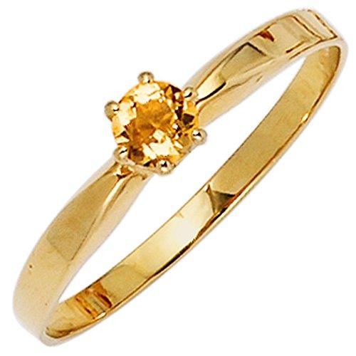 JOBO Damen-Ring aus 585 Gold mit Citrin Größe 52