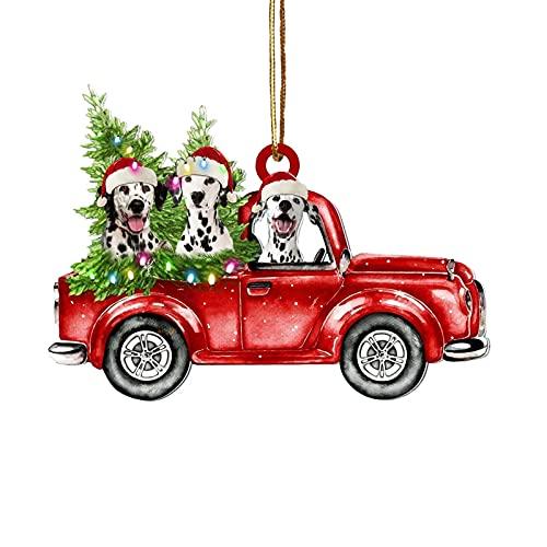Pisamhid Wooden Red Trucks Ornaments Décoration de sapin de Noël en bois rouge camion