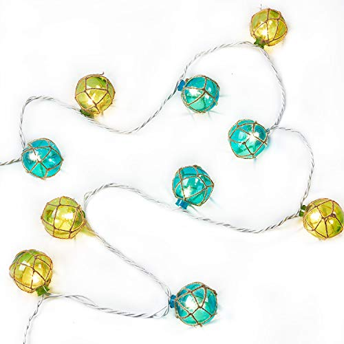 NIOSTA Decorative Lanterns String Lights:Nautical Fishing Floats Coastal Buoy Beach Style 10 Ball Lights- 9 Ft Plug in -Home & Yard Ambience Decorative Light