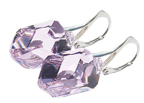 GIFT BOXED! Ah! Jewellery Light Amethyst Crystals From Swarovski 22mm Chunky Cubist Earrings. Sterling Silver & Stamped 925. Easy To Use Leverbacks.