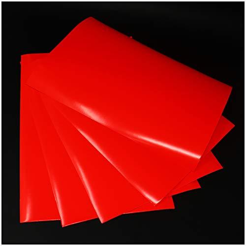 (28,80€/m²) Din A4 Bogen Bastelfolie Selbstklebend Künstlerfolie Plotterfolie Plottfolie Folie Basteln (Neon Rot, 5er Set Din A4 Bögen)