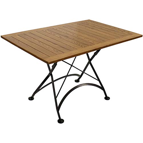 Sunnydaze European Chestnut Wood Folding Dining Table - Large Portable Rectangular Indoor/Outdoor Table - Perfect for Your Patio, Camp Site or Kitchen - 47 inches x 31 inches