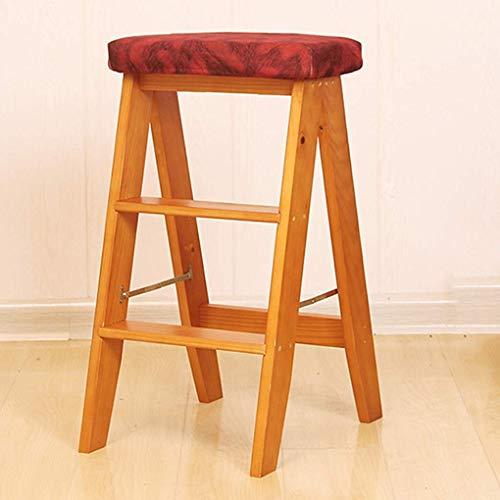 NYDZDM massief houten trapladder klapstoel 3-laags ladder huishouden antislip multifunctionele houten ladder startpagina praktisch
