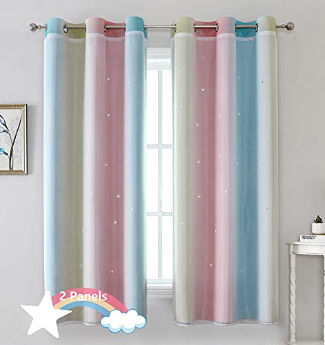 Kids Curtains, 2 Panels Rainbow Curtains for Girls Bedroom Living Room, Double-Layer Gradient Lace Kids Star Curtains, 42W x 63L Inches, Pink Blue