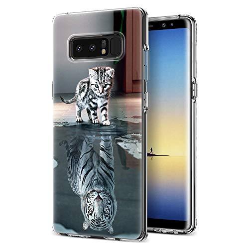 Zhuofan Plus Samsung Galaxy Note 8 Hülle, Silikon Transparent Schutzhülle mit Muster Motiv Handyhülle Weiche TPU 360 Kratzfest Durchsichtige Hülle Cover für Samsung Note 8 6,3