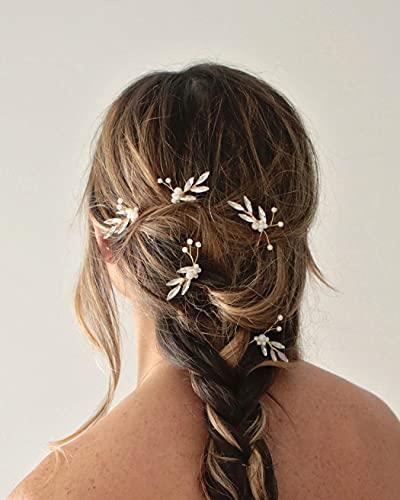 Unicra Braut Hochzeit Haarnadeln Silber Kristall Kopfschmuck Perle Braut Haarschmuck für Frauen und Mädchen (6 Stück)