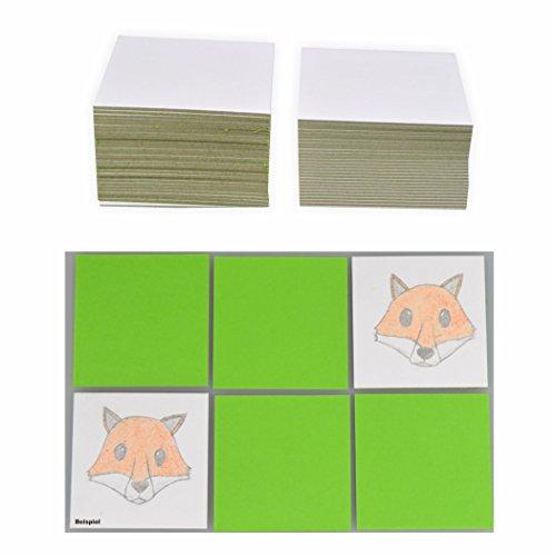 Blanko Legekarten 6x6cm, 60 Karten weiß Memory Karten