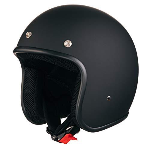 ORIGINAL Fräulein Irmi Retro Vespa-Helm, Jet-Helm mit Sonnen-Visier, Roller-Helm für Frauen und Herren im edlen Vintage-Look, Qualität nach ECE-Norm, schwarz matt