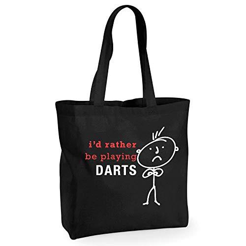 Mens Shopping Bag Id Liever spelen Darts Herbruikbare Zwarte Shopper Grappig