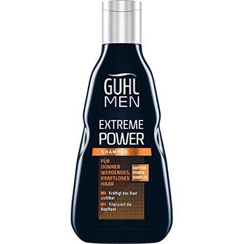 Guhl Men Extreme Power Shampoo - Kräftigt das Haar sichtbar - Mit Koffein-Power-Komplex - Speziell für Männerhaar, 250 ml