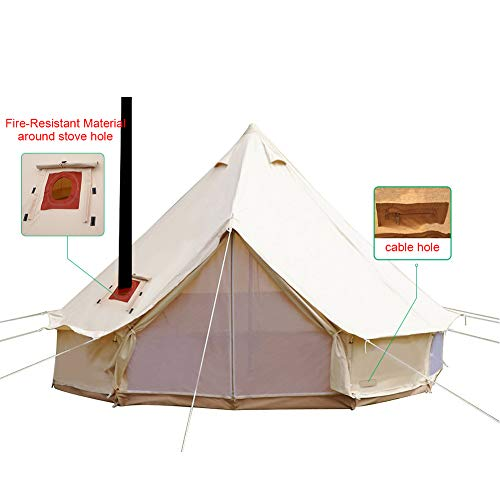 WINTENT 4 Season Cotton Canvas Bell Tent with Stove Hole and Electric Cable Hole (Cotton Tent, 3M/9.84ft)