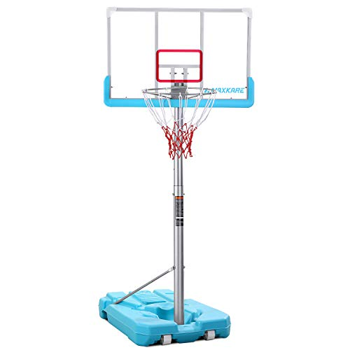 MaxKare Pool Side Basketball Hoop System Goal Portable Height-Height Adjustable for Kid Outdoor with PVC Shatterproof Backboard Anti-Rust Indoor Adult Youth