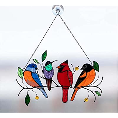 Amazon - 60% Off on Multicolor Birds on a Wire High Stained Ornament Glass Suncatcher, Pendant