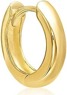 گوشواره MCS Jewelry 14 Karat طلای زرد تک گوش Huggie Hoop (قطر: 13 میلی متر)