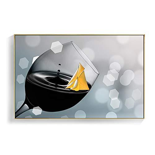 Carteles impresiones nórdico romántico vino tinto champán lienzo pintura cocina cuadros de pared modernos para sala de estar decoración del hogar 60x80cm sin marco