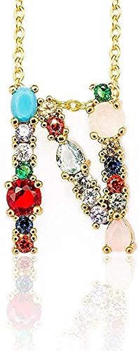 Collar Collar De Color Dorado con Colgante De Circonita Inicial 26 Letras Nombre De Personalidad Accesorios De Joyería para Mujeres Y Regalo De Novia