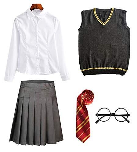 FStory&Winyee Zauberer Set Rock/Hose Bluse/Hemd Krawatte Brille Kostüm Zubehör für Kinder Erwachsene Zubehör Set Striped Tie Gestreifte Krawatte zum Fasching Karneval Halloween