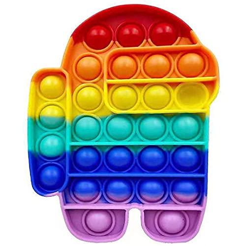 Among Us Robot Pop it Fidget Toy. Realizzato in Morbido Silicone Rainbow. Gioco per Adulti e Bambini. Ideale per Stress e Ansia. Sensory Bubble Fidget Toy. Trend su TikTok