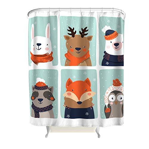 Charzee Kerstmis patroon douchegordijnen antibacterieel waterdicht ontwerp gordijn badkamergordijn met levendige kleuren 120x200cm