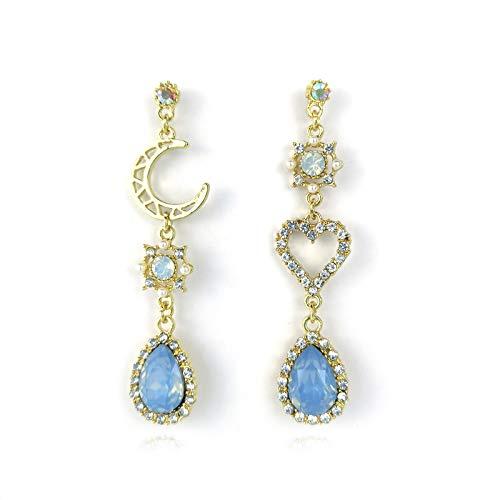 Pendientes para mujer de plata 925, con incrustaciones de estrás, asimétricos, estrella y luna, forma de gota azul, pendientes pompón extra largos