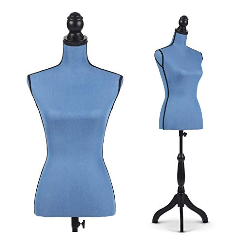 FKKleiderstangen Blaue weibliche Kleid-Form zu Schneider, Fach Female Schneider Dummy Modeschöpfern, Höhe 132-168cm, Holzsockel